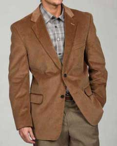 Tan Mens Two Button Corduroy Sport Coat