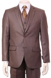 Mens Taupe Double vented 2 Button Vested Suit