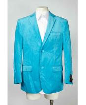 Mens Two Button Notch Velvet ~ Velour Lapel Single Breasted Blazer Aqua Turquoise Color