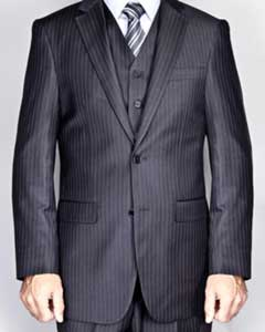 Pinstripe 2-Button Vested Suit