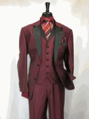 Suit 2 Button Single Breasted Peak Sateen Lapel Two Toned Tuxedo Wine SharkSkin