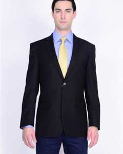 Mantoni Brand Solid 2 Button 100% Wool Mens Blazer With brass buttons Mens Jacket Spor Coat Black