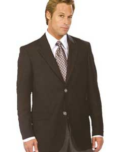 Mens Black Authentic Mantoni Brand Solid Suit- High End Suits - High
