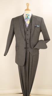 Apollo King 3 Piece Single Breasted 2 Button Jacket Notch Lapel Charcoal Grey Fashion Suit