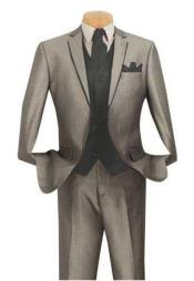 Mens Grey ~ Gray Suit With Trim Vested 3 piece 2 Button Tuxedo Suit Black 7 days