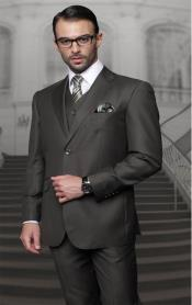 Olive Two Buttons Vested Wool Tailored Fit Suit