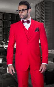 Classic 3 Piece 2 Button Solid Red Mens Suit Super 150s Extra