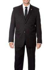 Mens Two  Black and Red Stripe 2 buttons Bold Chalk Pinstripe