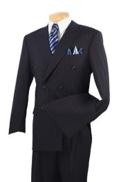 Executive 6 on 2 double Breasted Suits Banker Pinstripe Black