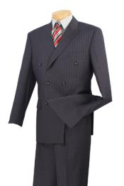 Executive 6 On 2 Double Breasted Banker Pinstripe Charcoal