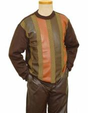 Mens PU Leather Brown/Caramel/Beige 2 Piece Pull-Over Sweater Outfit