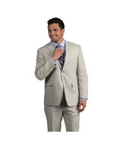 button Mens Tan Notch Lapel Classic Linen Side Vent Suit