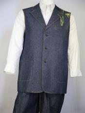 Mens Chinese Muse Embroidered Navy Blue 2pc Vest and Pants Set