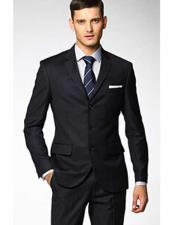 3 Button Fitted Slim Fit Wool Suit Flat Front Pants Side