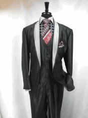 3 Button Two Toned Tuxedo Single Breasted Jacket and Vest Suit Jacket Grey Black
