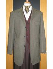 Brand Three Three ~ 3 Buttons Gold/Brown Checker Pattern 95% Wool5%