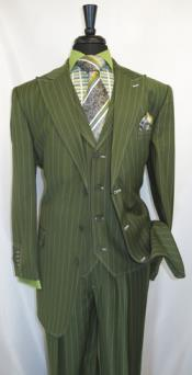 Vested 3 Button Single Breasted Suit and Wide Leg Pleated Pants Olive Green Stripe Bold Chalk Pinstripe