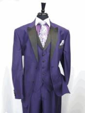Two Toned Tuxedo 3 Button Single Breasted Peak Lapel Suit Jacket SharkSkin Purple