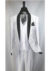 3 Piece One Button Single Breasted Shawl Lapel Suit Jacket with Black Satin Trim Collar White