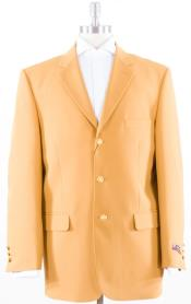 Solid With Brass Buttons Dinner Jacket Flap Pockets Polyster Blazer with Three buttons Notch Lapel Mustard Coat