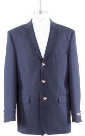 Mens Navy Solid With Brass Buttons Dinner Jacket Flap
