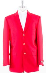 Solid With Brass Buttons Dinner Jacket Flap Pockets Three buttons Notch Lapel Polyster Blazer Red Coat