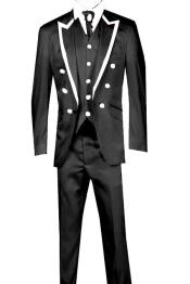 Piece Jacket+Trouser+Waistcoat Trimming Tailcoat Tuxedos Suit/Jacket-Black/White Tuxedo Jacket with the tail