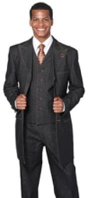 Wide Leg 3 Piece Black Jean Fashion Suit
