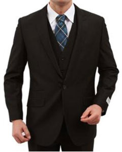 Vested Peak Lapel Vested 3 Piece With sharskin Slim skinny Fitted