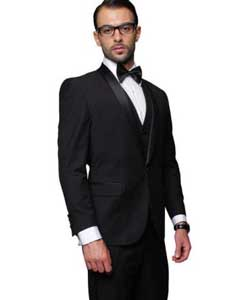 Blacked Lapel Two Toned Suit Tux Jacket + Pants & Vest