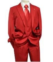 Falcone 3 Piece Fashion Suit Vett Vested Red