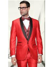 3 Piece Sharkskin Suit - Fashion Vest Red