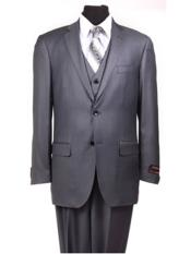 Grey ~ Blue ~ Dark Navy Stripe ~ Pinstripe Vested Mens