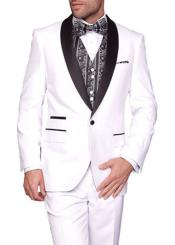Two Toned Lapel 3-Piece Capri Flat front Tuxedo Suit White