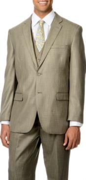 Italy Pleated Trousers + Shark Pattern 3-Piece Vested Suit Tan ~