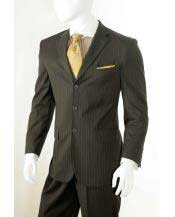 button Banker Chalk Pinstripe ~ Stripe Notch Lapel Pleated Pants Athletic Cut Brown