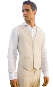 linen beach wedding tuxedo 2 slit pocket single breasted 4 button V-neck tuxedo vest for men