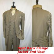 4 button Single Breasted Suit Jacket Matinee Length (35 inch) Tan