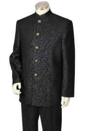 Mens 5 Button Paisley Design Mandarin / Nehru Collar Suit in black