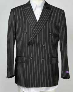 Mens Sport Coat 6 Button Pinstripe Double Breasted Peak Lapel Blazer Black