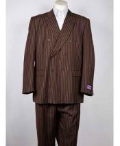 Classic Fit Double Breasted Pinstripe 6 Button Peak Lapel Brown Suit