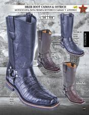 Altos Genuine caiman ~ World Best Alligator ~ Gator Skin/Ostrich Mens Western Biker Boots Diff Colors/Sizes