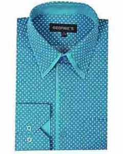 Polka Dot Design Aqua ~ Turquoise Color Classic Fit Mens Dress