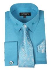 Fashion and Handkerchiefs Aqua Turquoise ColorBlack Mens Dress Shirt
