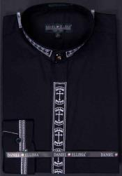 collarless Dress Shirt Banded Collar With Cross Embroidery Black