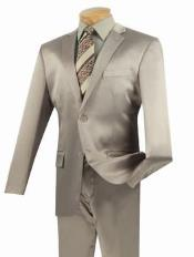 SKU#KL11Z Shiny Sharkskin Metallic 2 Button Suit Beige