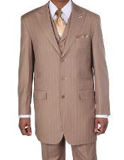 New Mens Peak Lapel Pinstripe Stripe Suits Vested In Tan ~ Beige Pleated Pants