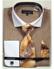 Beige Textured Pattern French Cuff 100% Cotton Fashion Shirt with Tie