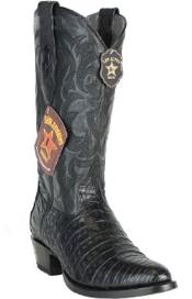 Los Altos Handcrafted Round Toe Genuine Caiman Belly Black Boots