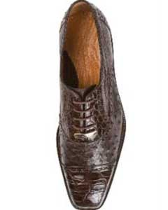 """Onesto II"" Brown Genuine Ostrich / Crocodile ~ World Best Alligator"